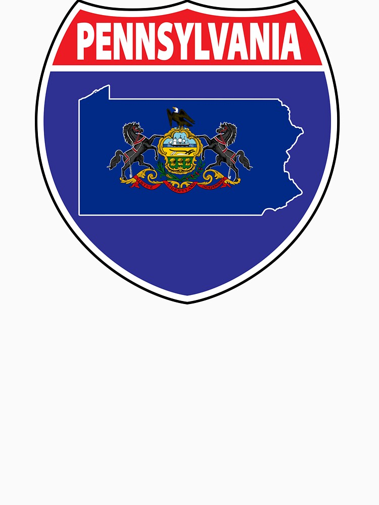 Pennsylvania flag USA highway seal sign by mamatgaye