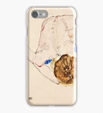 Egon Schiele - Nude with Blue Stockings, Bending Forward (1912)  iPhone Case/Skin