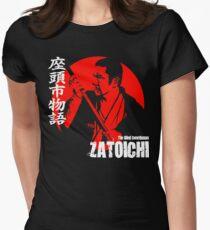 Shintaro Katsu Japan Retro Classic Samurai Movie Zatoichi The Blind Swordsman  Womens Fitted T-Shirt