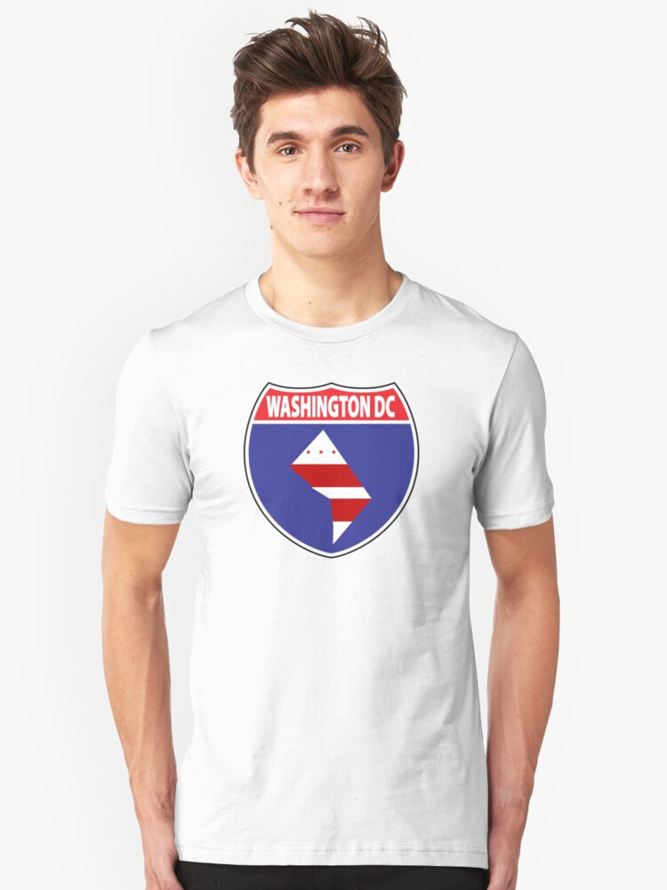 Washington DC flag USA highway seal sign Unisex T-Shirt Front