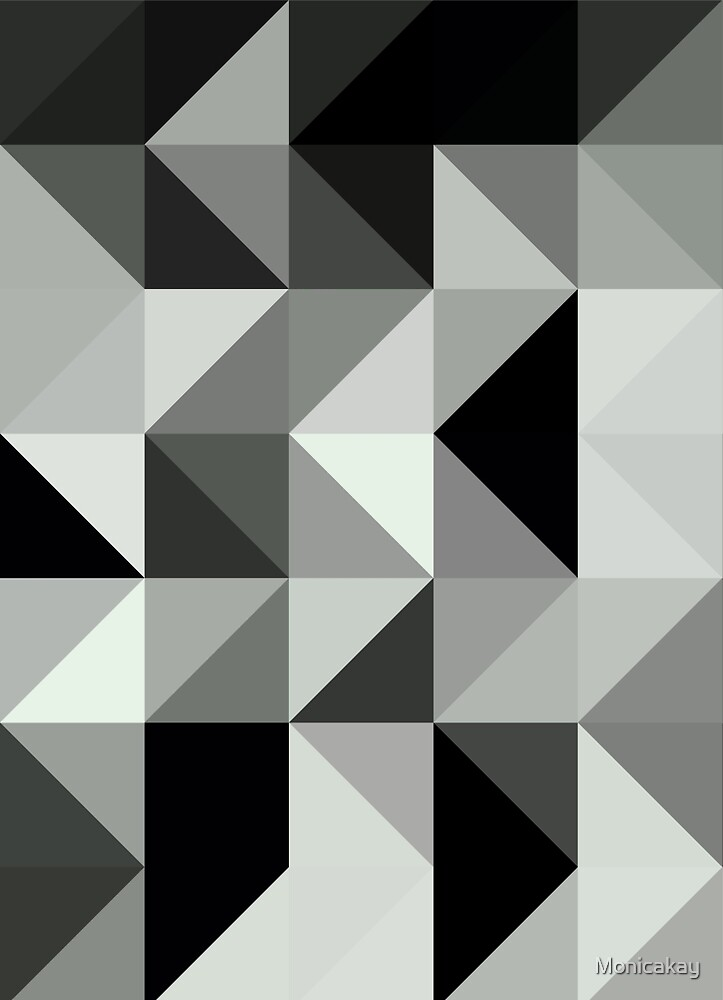 Abstract #150 Black Grey Right Triangles by Monicakay