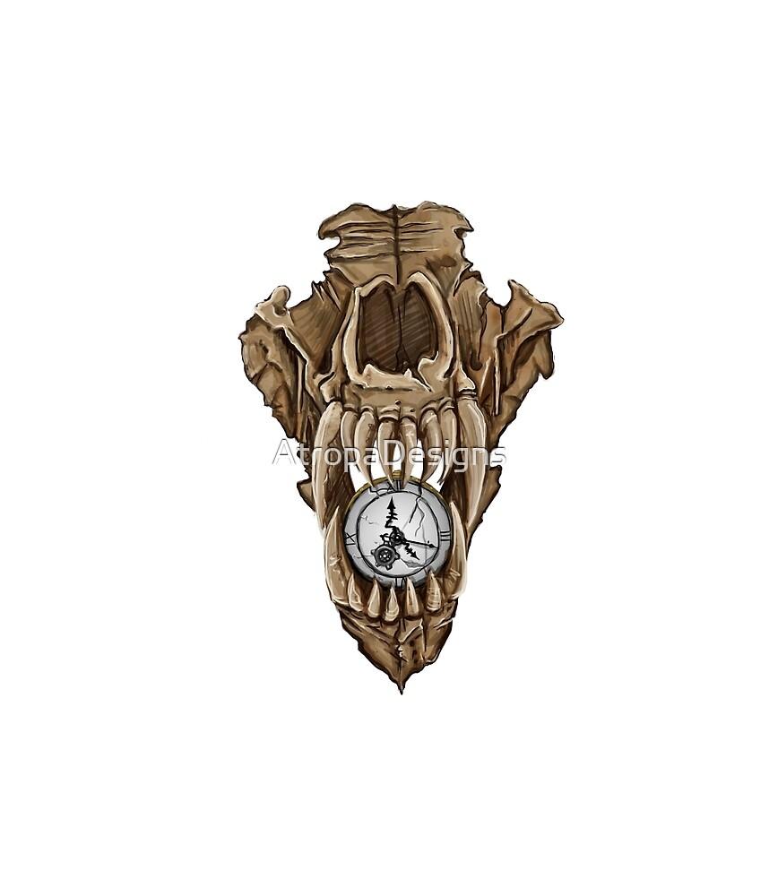 Death Clock Wolf Skull by AtropaGrimm