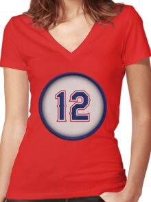 12 - Roogie Women's Fitted V-Neck T-Shirt