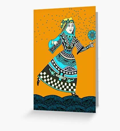 Queen Running with Magic Flower Greeting Card