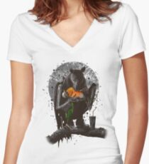 BAT EAT ROBIN Women's Fitted V-Neck T-Shirt