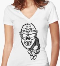 Wolf Guy Women's Fitted V-Neck T-Shirt