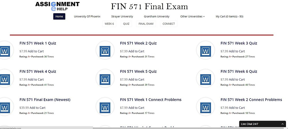 FIN 571 Final Exam Question and Answer by assignmentehelp