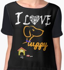 Funny Dog T-Shirt Chiffon Top