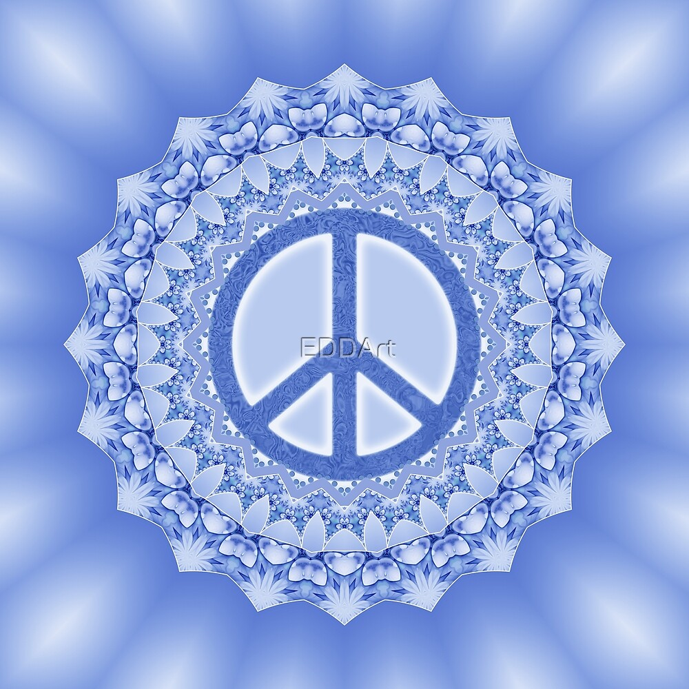 Lotus Flower Power Peace Mandala blue by EDDArt