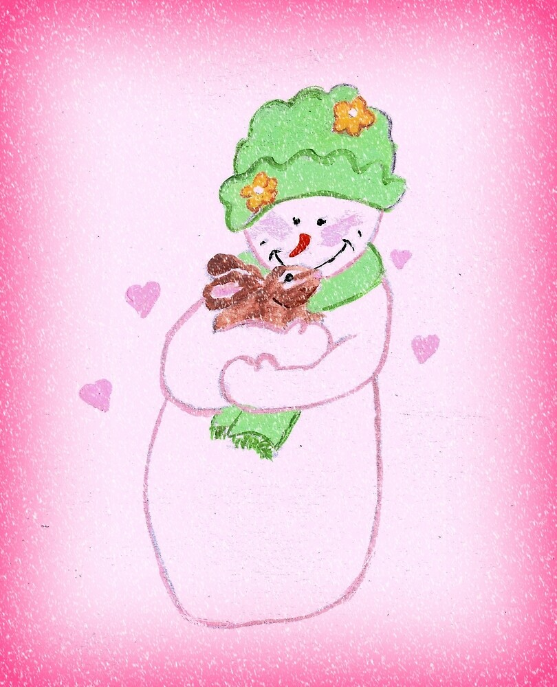 Snowman Pink Girl in Pink, With Bunny by LeonaPaints