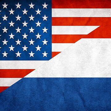 Half Netherlands Half American Flag by MimiDezines