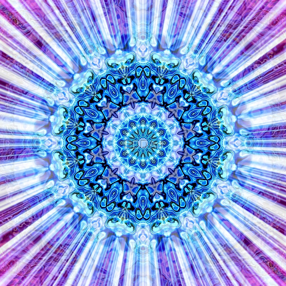 Magic Ripples Mandala Rays - Blue White Violet by EDDArt