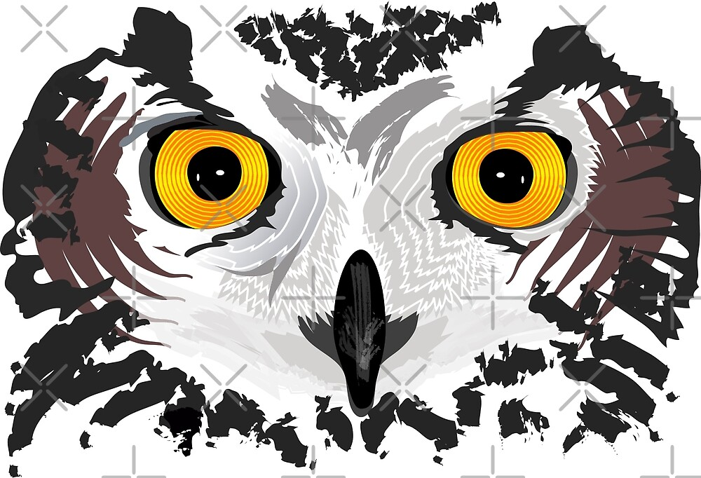 Owl Eyes White by LeShouArt
