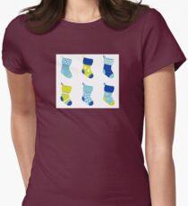 Cute Christmas Socks set - vector cartoon Illustration Womens Fitted T-Shirt