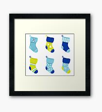 Cute Christmas Socks set - vector cartoon Illustration Framed Print