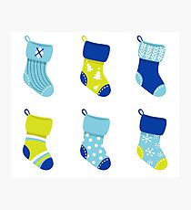 Cute Christmas Socks set - vector cartoon Illustration Photographic Print