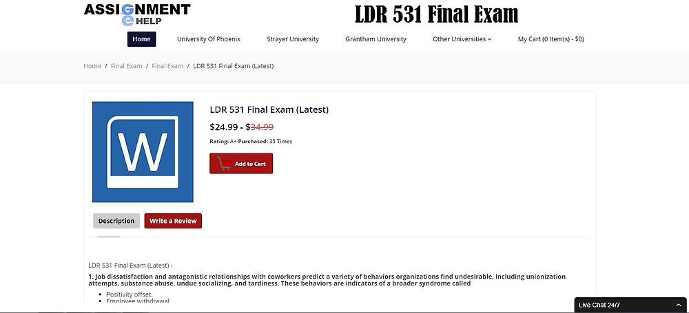 LDR 531 Final Exam Question and Answer by assignmentehelp