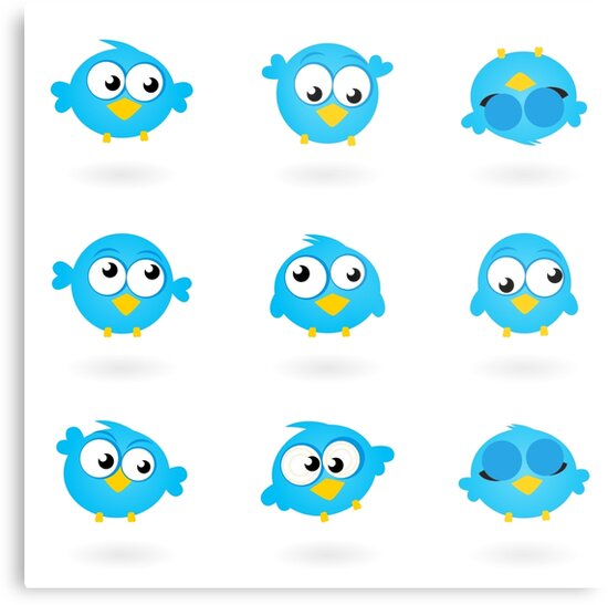 Blue funny Twitter Birds collection by Bee and Glow Illustrations Shop