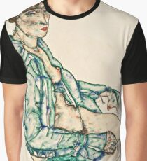 Egon Schiele - Sitting Semi Nude with Blue Hairband (1914)  Graphic T-Shirt