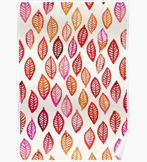Watercolor Leaf Pattern in Autumn Colors Poster
