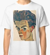 Egon Schiele - Self Portrait with Striped Shirt (1910)  Classic T-Shirt