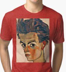 Egon Schiele - Self Portrait with Striped Shirt (1910)  Tri-blend T-Shirt