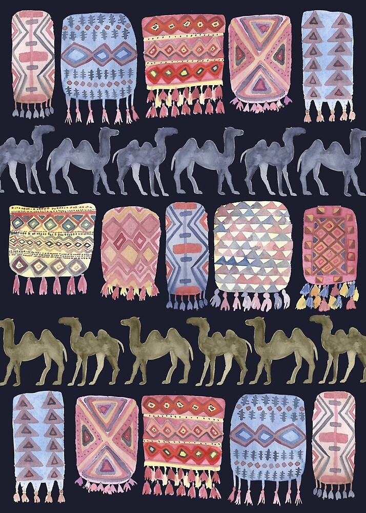 Camels and Moroccan Blankets on Navy by shoshannahscrib