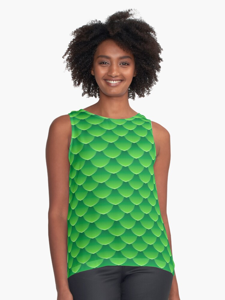Green dragon scales 3d effect fun bold animal print design in green and emerald, classic statement fashion clothing, soft furnishings and home decor  Contrast Tank Front