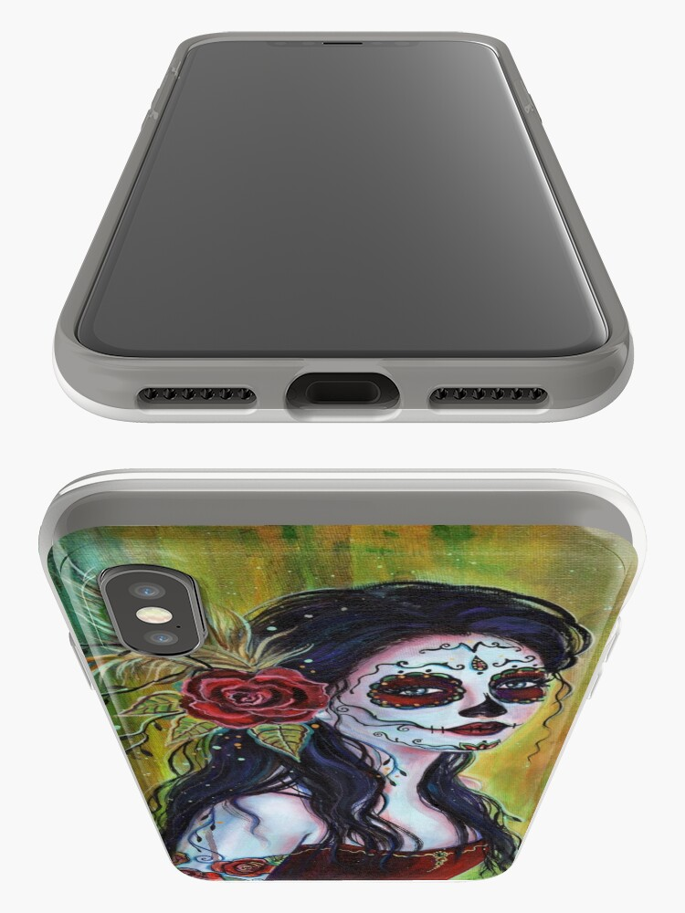 Alternate view of Lila day of the dead art by Renee L Lavoie iPhone Case & Cover