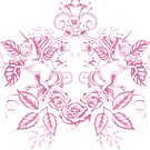 Unicorn Floral: Pink on White by LCWaterworth