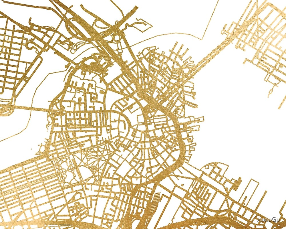 Gold Boston map by AnnaGo