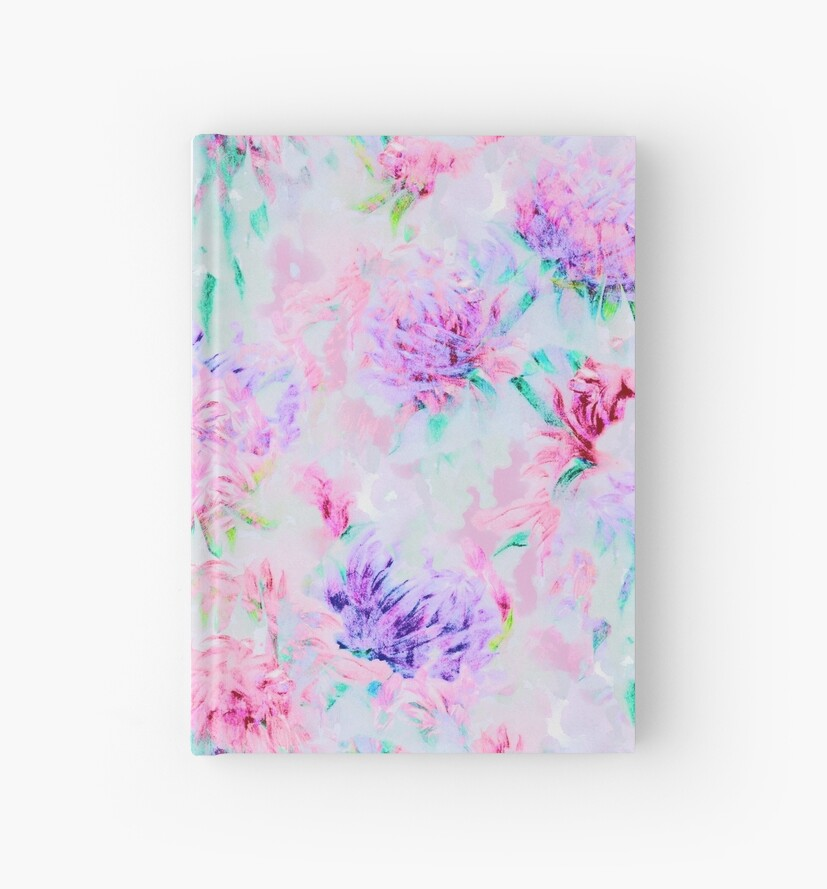 Watercolor flower aster painting pattern by eszadesign
