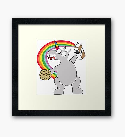angry zombie unicorn has a snack Framed Print