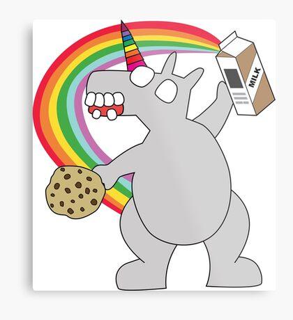 angry zombie unicorn has a snack Metal Print