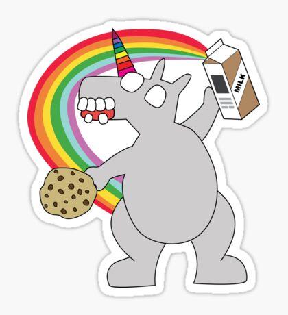 angry zombie unicorn has a snack Glossy Sticker