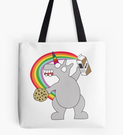 angry zombie unicorn has a snack Tote Bag
