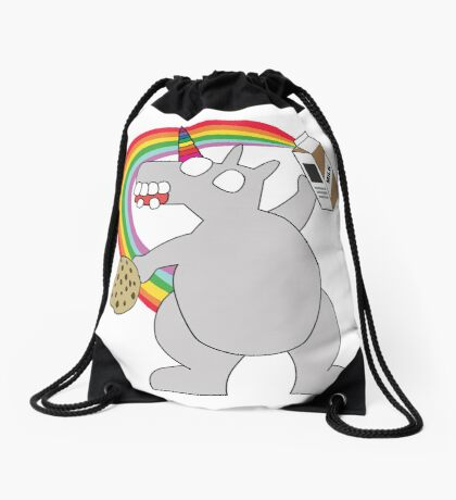 angry zombie unicorn has a snack Drawstring Bag