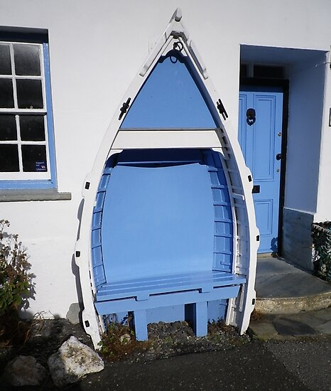 BOSCASTLE COTTAGE BLUE & WHITE BOAT BENCH SEAT CORNWALL by Richard Brookes