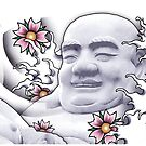 Smiling Buddah with cherry blossoms by tattoofreak