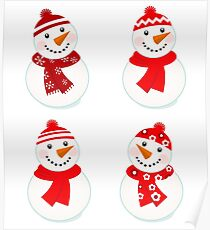 Vector cute snowman red collection Poster
