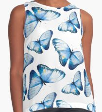 Beautiful big butterflies in blue tones, fun bold animal print design in blue, classic statement fashion clothing, soft furnishings and home decor  Contrast Tank