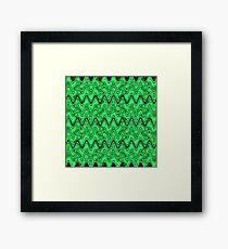 Green Black Squiggle Pattern Framed Print