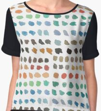 Cool Spectrum Paint Splodges on White Hand Painted Watercolors Women's Chiffon Top