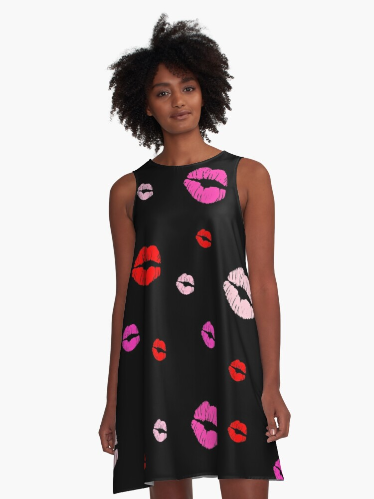Lipstick Kisses, Black A-Line Dress Front