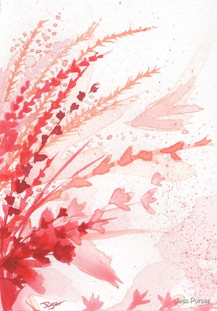 Floral abstract #3 - Red wildflowers by Jess Purser