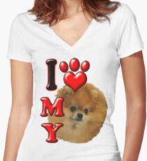 Camiseta entallada de cuello en V Amo mi Pomerania