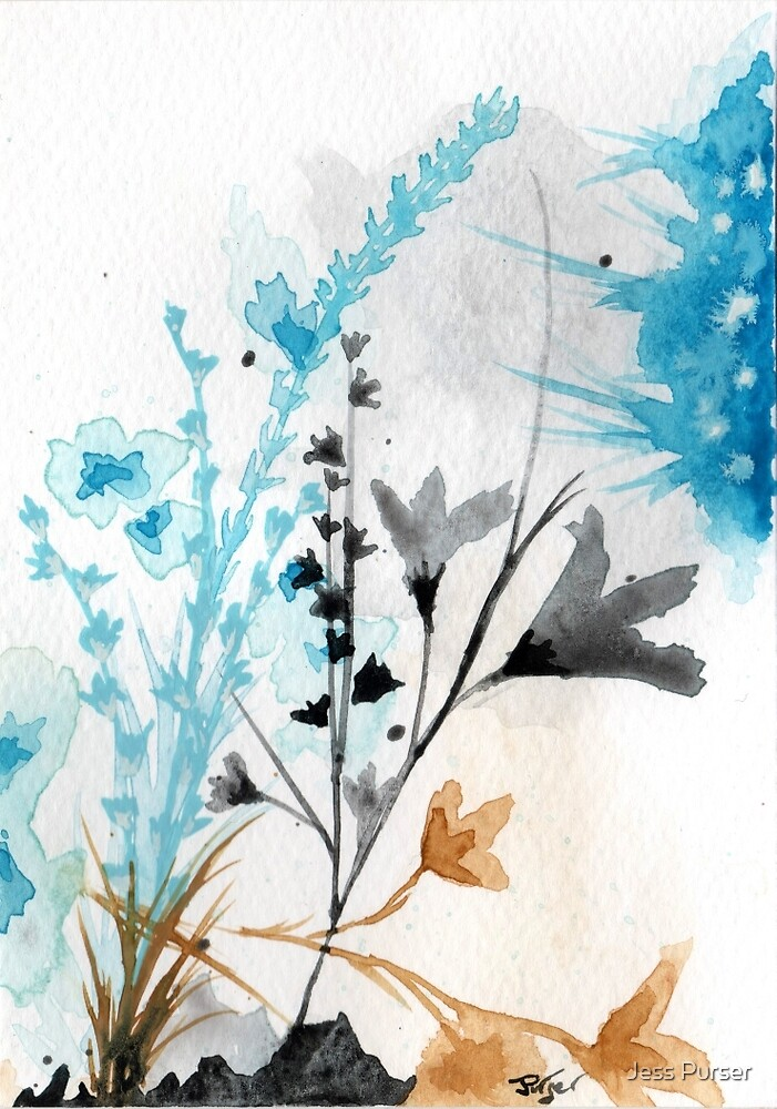 Floral abstract #5 - Blue wildflowers  by Jess Purser