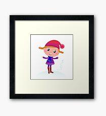 Little Girl in winter cosume isolated on white - vector cartoon Framed Print