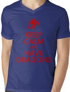 Keep Calm We Have Dragons Mens V-Neck T-Shirt