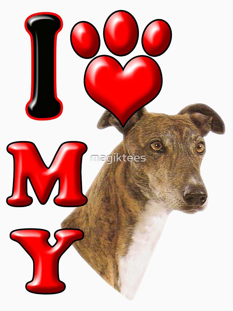 I Love My Greyhound by magiktees